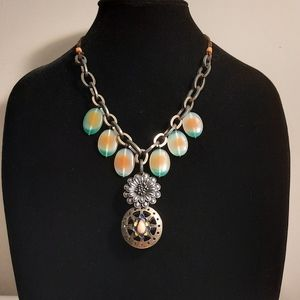 LUCKY BRAND Leather Gunmetal statement necklace